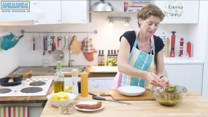 Anrichten von Kichererbsen & Chorizo